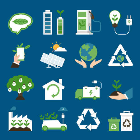 ecology icons flat design, vector