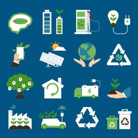 energia solar: iconos de la ecología diseño plano, vector