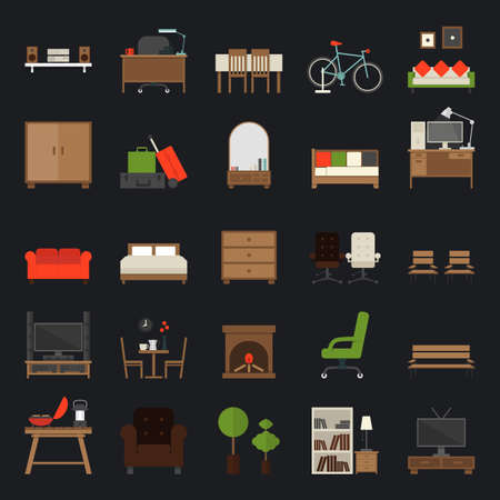 Furniture Icons Flat Design , vector. Vector