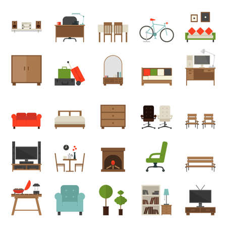 sofa furniture: Furniture Icons Flat Design , vector.