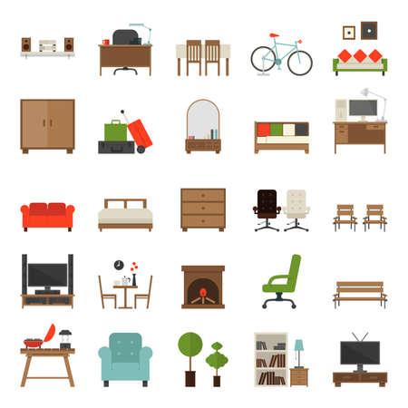 muebles de oficina: Muebles iconos planos de diseño, vector. Vectores
