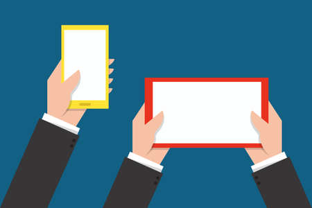 Hand Touching phone and tablet screen Illustration