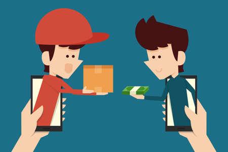 consumerism: e-commerce concept flat design, vector