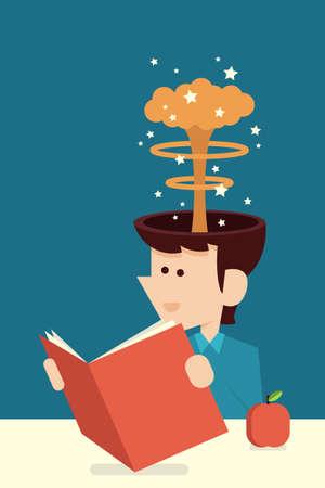 reading cartoon: education concept flat design, vector