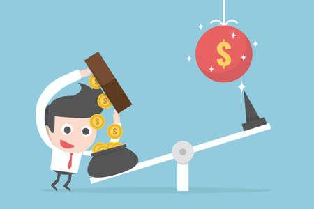 investment concept businessman cartoon, vector.