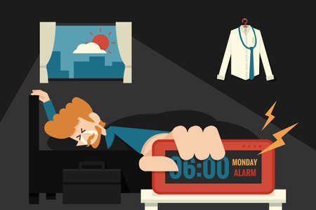 despertarse: Lazy lunes con el llanto de negocios en la cama Vectores