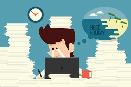 overworked: Businessman need holiday flat design cartoon, vector