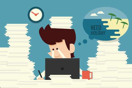 Businessman need holiday flat design cartoon, vector