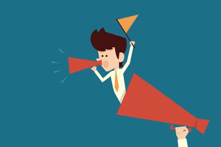 actions: motivation concept with businessman flat design