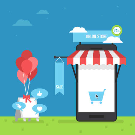 mobile shopping: online store mobile flat design Illustration