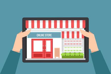 online shopping concept, vector flat design Vector