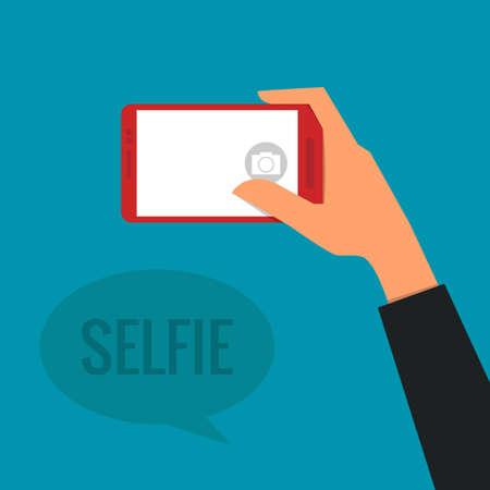 selfie: Taking a Selfie Photo   Illustration