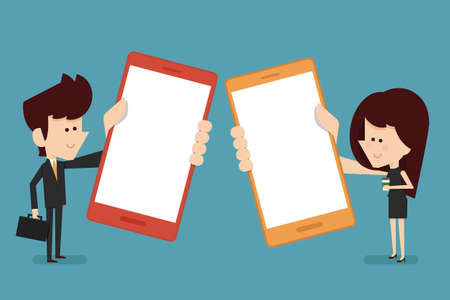 people with smart phone Stock Vector - 29004535