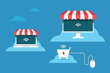 Online store flat design, vector Vector