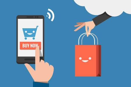 モバイル ショッピング フラット デザインのベクトル