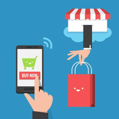 mobiel winkelen platte ontwerp vector