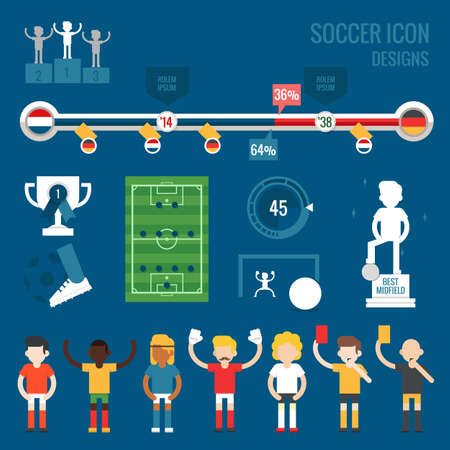 soccer players character and icons, flat design vector  Vector
