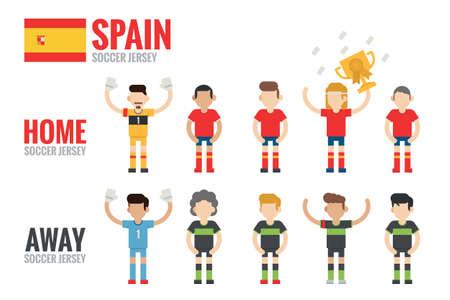 Spain soccer team character flat design, vector  Vector