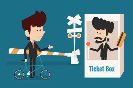 investment concept: businessman buying ticket, investment concept, vector