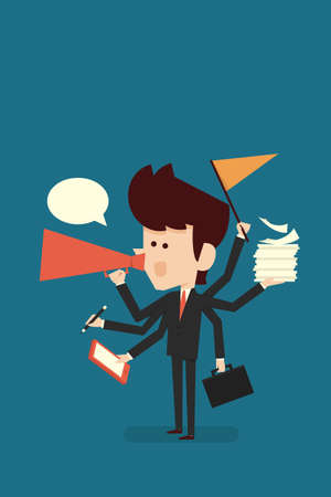 hardworking: hardworking businessman, vector