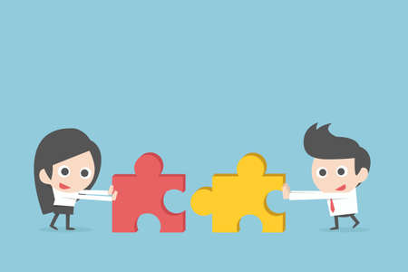 Business teamwork with jigsaw, vector Illustration