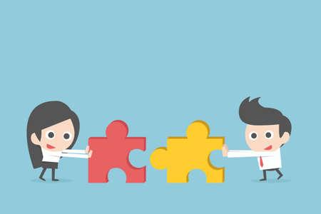 Business teamwork with jigsaw, vector Vectores