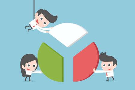 Teamwork of business people, vector