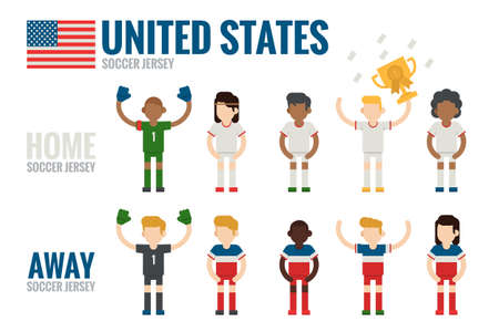 charactor: United States soccer team charactor design, vector