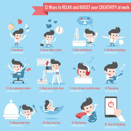 stress management: 12 ways to relax infographics cartoon