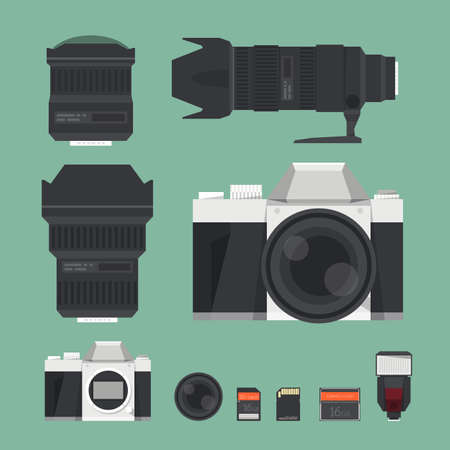 digital camera: DSLR digital camera accessories. vector