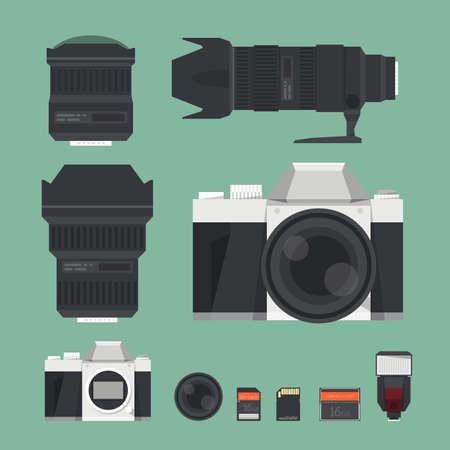 DSLR digital camera accessories. vector
