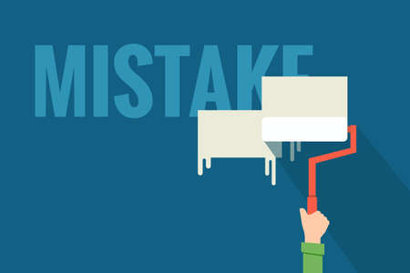 rectify: hand removing mistake flat design Illustration