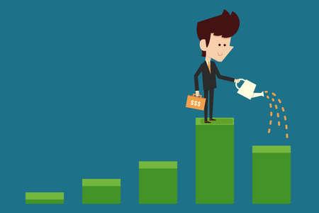 venture: businessman watering financial graph