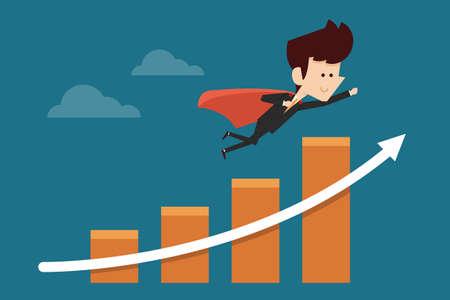 margins: successful businessman flying on graph Illustration