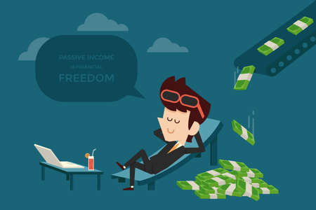 renta: hombre de negocios y design0 plana ingresos pasivos Vectores