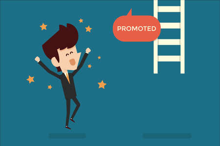 happy employee: Successful businessman promoted flat design