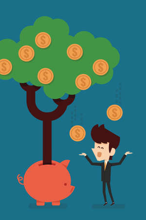 growing business: happy businessman with Savings Income Illustration