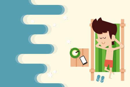 deckchair: businessman on vacation flat design, vector