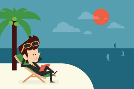 passive: businessman on vacation flat design, vector