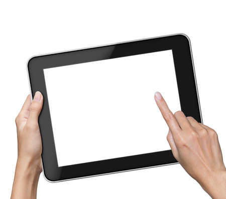 Hand holding blank screen Tablet pc. photo