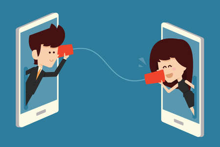 telephone cartoon: communications concept flat design