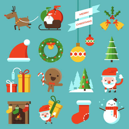 christmas tree set: Chrismas icon flat design, vector