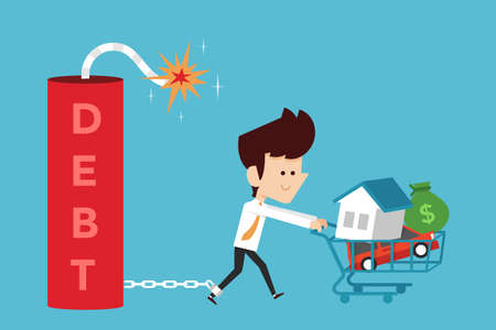빚: debt concept cartoon, flat design