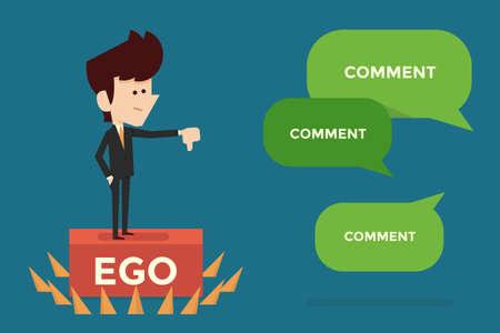 boastful: Ego and Limit concept flat design.