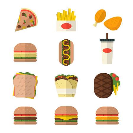 junkfood: Fast food icons flat design Illustration