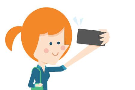 taking picture: Girl taking selfie flat design, vector.
