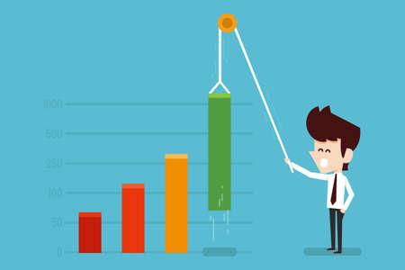 businessman growing financial chart flat design