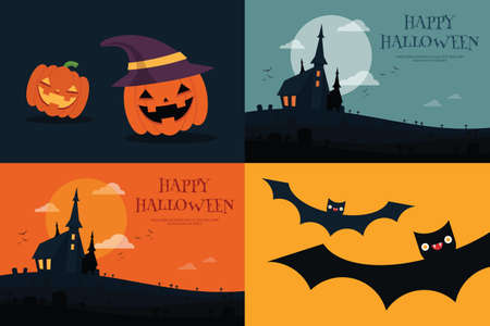 halloween tree: Halloween background flat designs