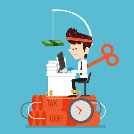 Businessman working Stressed flat design Illustration