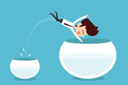 fishbowl: Man jumping out of smaller fishbowl Illustration
